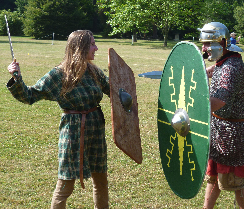 Fighting in Roman costume