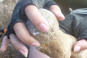 Spherical flint hammer stone or rubbing stone