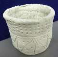 A pot decorated in prehistoric style