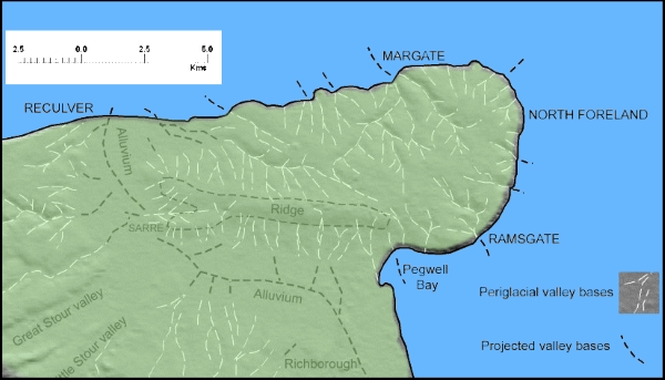 Topographic map of the Isle of Thanet