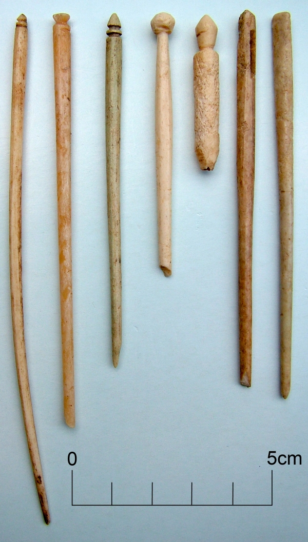 Bone and ivory pins, personal items from a Roman Villa