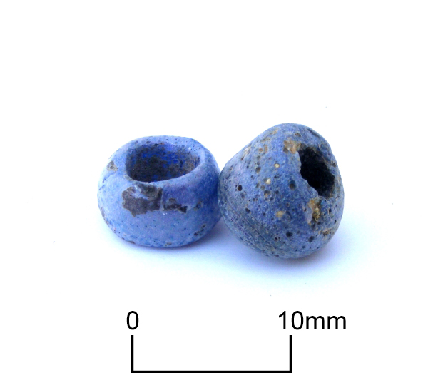 Two of three faience beads found with an Iron Age burial at North Foreland, Broadstairs