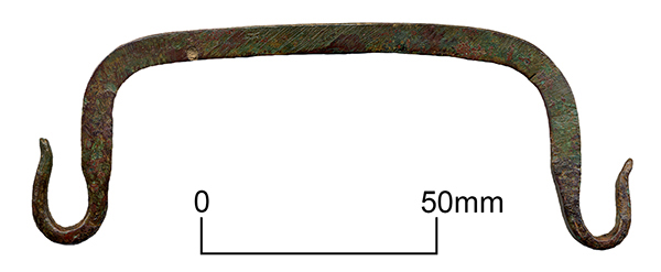 Bronze casket handle from Anglo-Saxon grave at Sarre