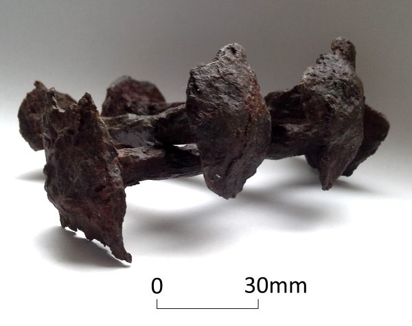 Iron clench bolts and roves from a structure covering an Anglo-Saxon grave