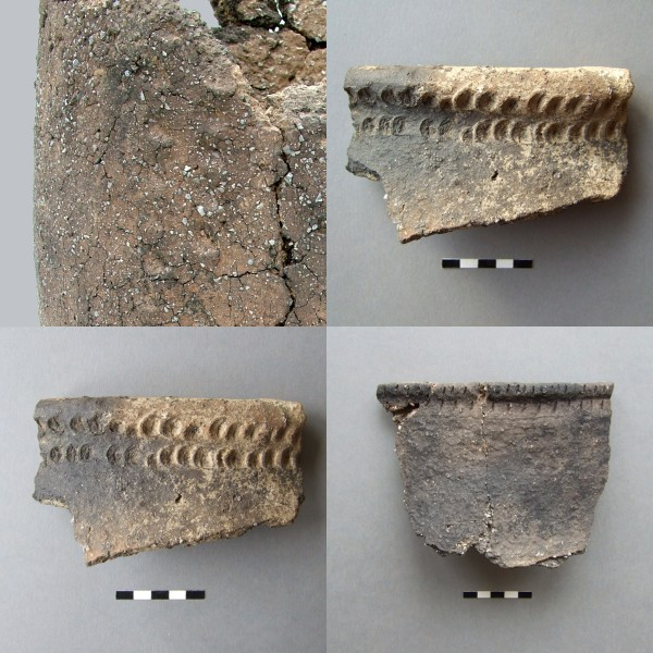 Bronze Age pottery with skeumorphic decoration, possibly emulating stitching in leather.